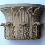 A Greek Temple of the Winds-style capital hand-carved in wood by Agrell Architectural Carving.