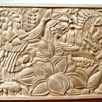 Art Deco-style wood panel designed by Albert Guenot and hand-carved by Agrell Architectural Carving.