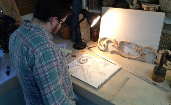 Marcus working on an acanthus drawing