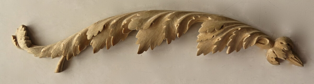 18th-century-style acanthus leaf woodcarving by Agrell Architectural Carving, from a design by Thomas Sheraton