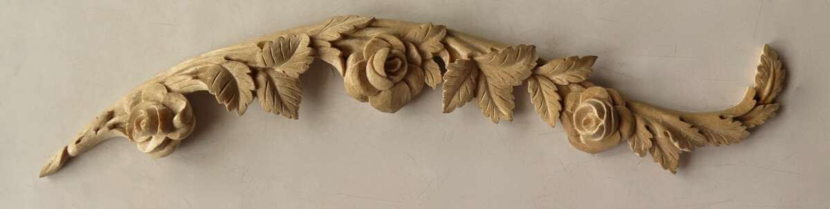 18th-century-style roses woodcarving by Agrell Architectural Carving woodcarving by Agrell Architectural Carving, from a design by Thomas Sheraton