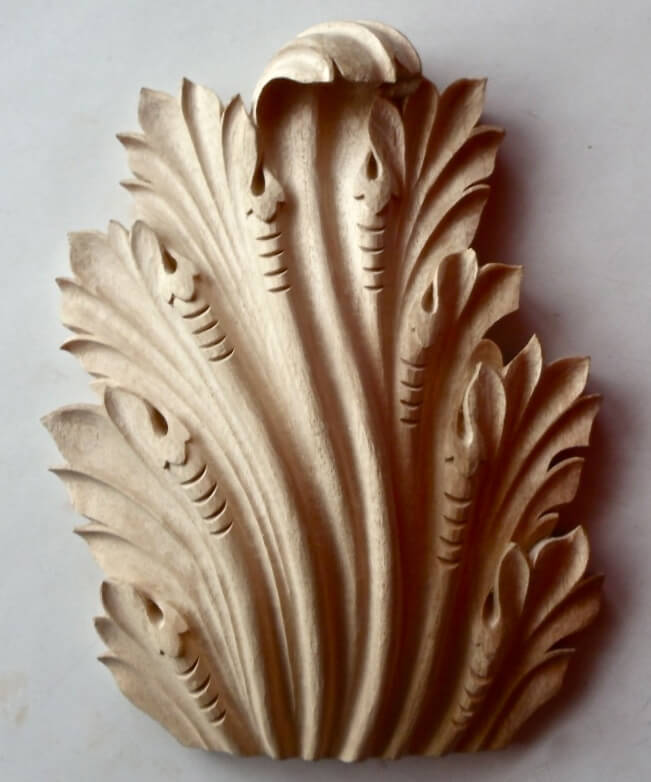Byzantine-style acanthus leaf woodcarving by Agrell Architectural Carving