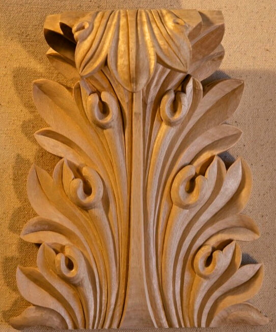 Greek-style acanthus leaf woodcarving by Agrell Architectural Carving, from a Temple of the Winds capital