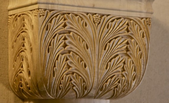 Byzantine-style capital hand-carved in wood by Agrell Architectural Carving.