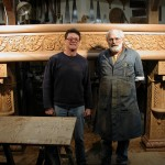 Byzantine-style wood fire surround hand-carved by Agrell Architectural Carving.