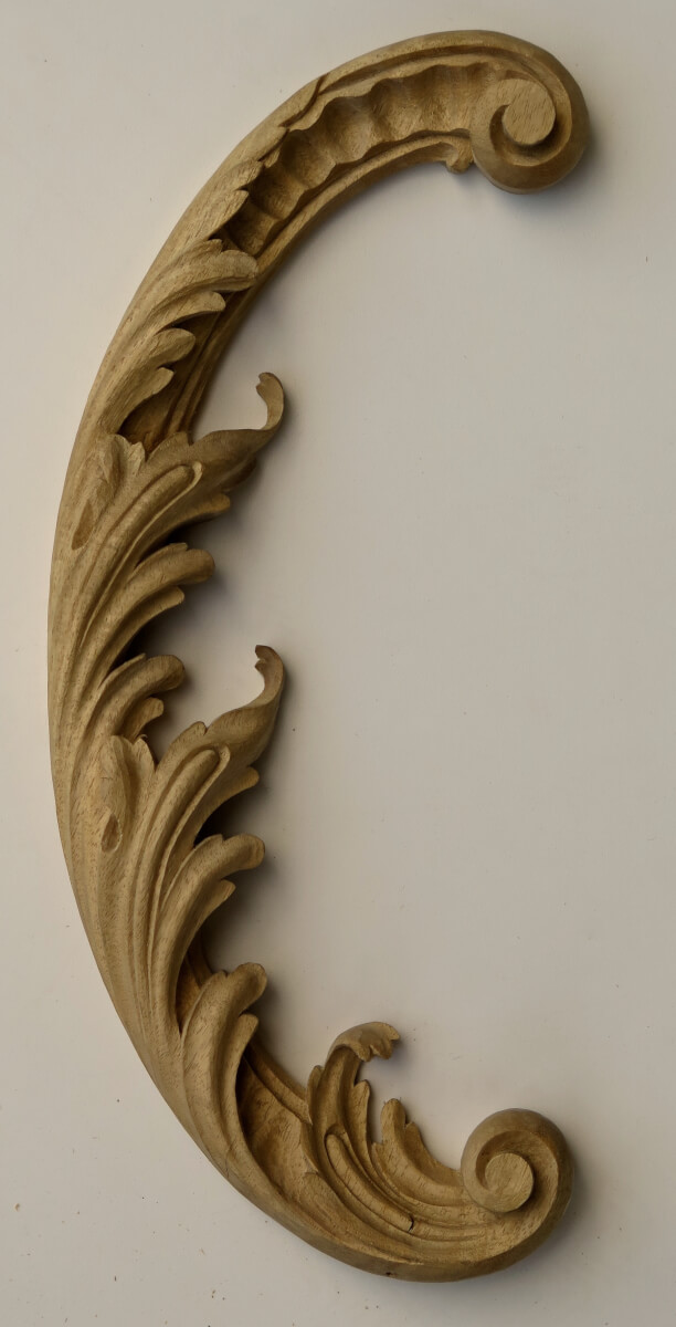 Rococo-style acanthus leaf scroll woodcarving by Agrell Architectural Carving