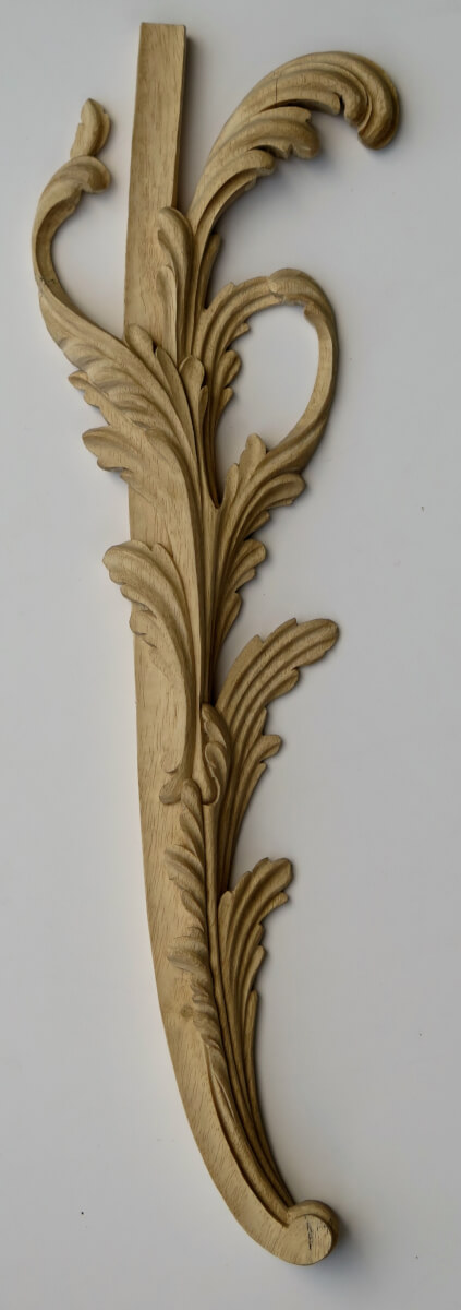 Claydon House-style acanthus leaf woodcarving by Agrell Architectural Carving, from a design by Luke Lightfoot