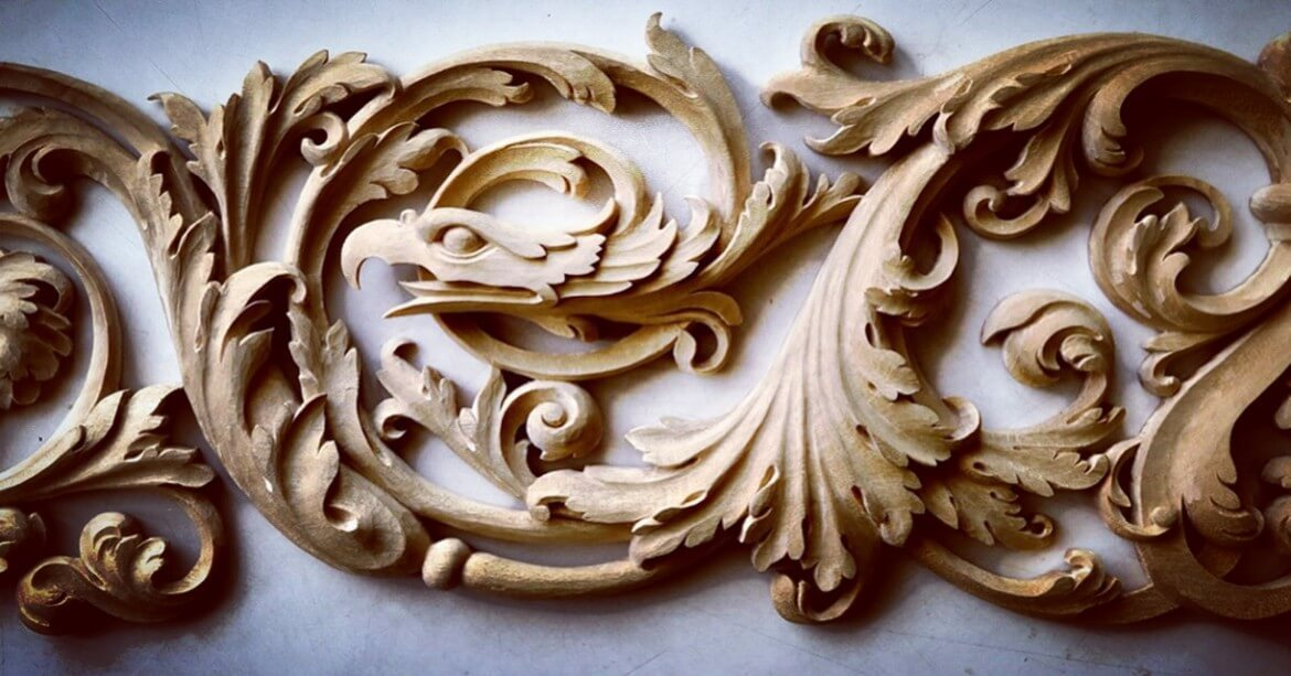 Hand-carved Renaissance-style panel by Agrell Architectural Carving