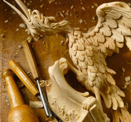 Rococo-style ho-ho bird woodcarving by Agrell Architectural Carving.