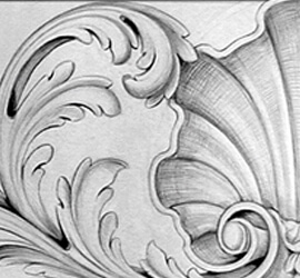 Acanthus frieze drawn by Adam Thorpe