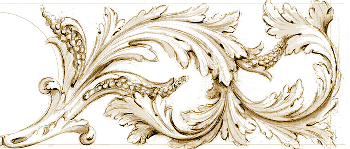 Acanthus scroll design for Hampton Court Palace by Adam Thorpe