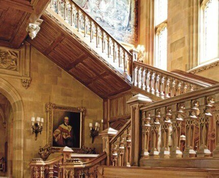 Highclere Castle's oak staircase, as featured in the PBS drama, Downton Abbey.