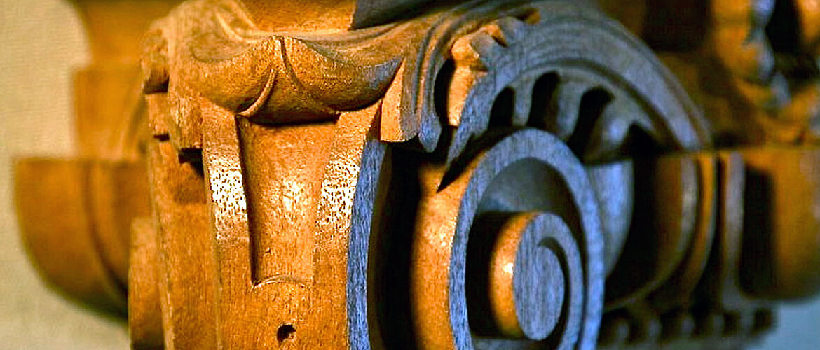 Detail of Ionic capital hand-carved by Agrell Architectural Carving
