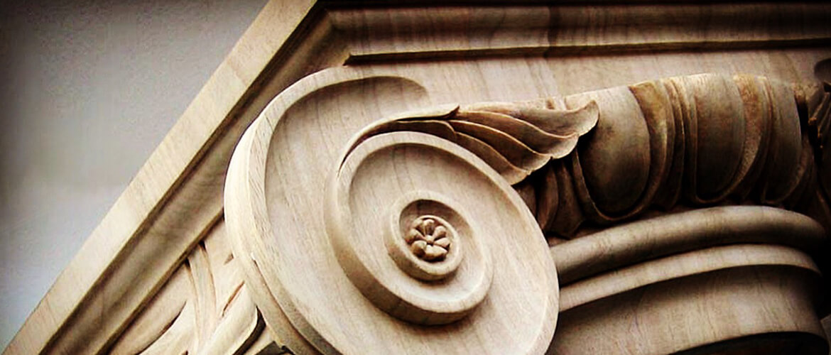 Ionic capital hand-carved by Agrell Architectural Carving