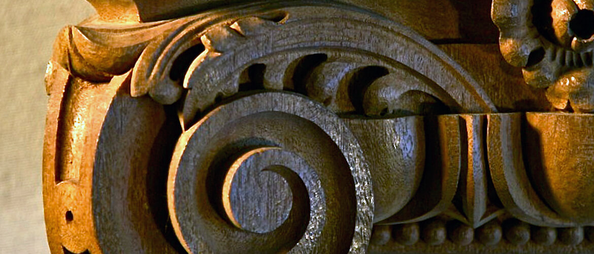 Detail of an Ionic capital hand-carved by Agrell Architectural Carving.