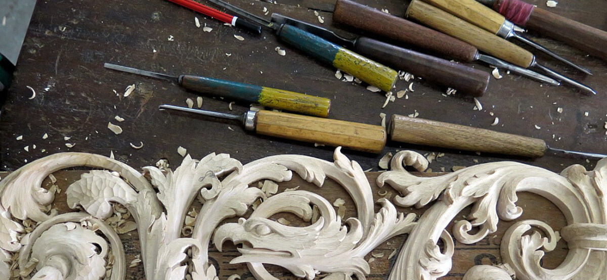 Renaissance-style woodcarving being hand-carved by Agrell Architectural Carving