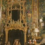 English Rococo fire surround and overmantle