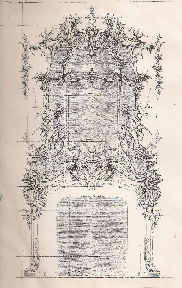 Inspiration sketch for Rococo fire surround and overmantle