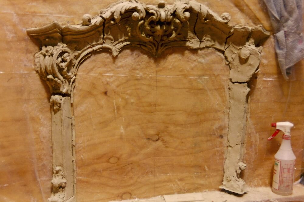 Clay model of Rococo fire surround
