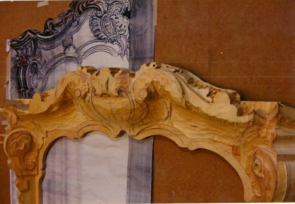 Roughed out Rococo fire surround