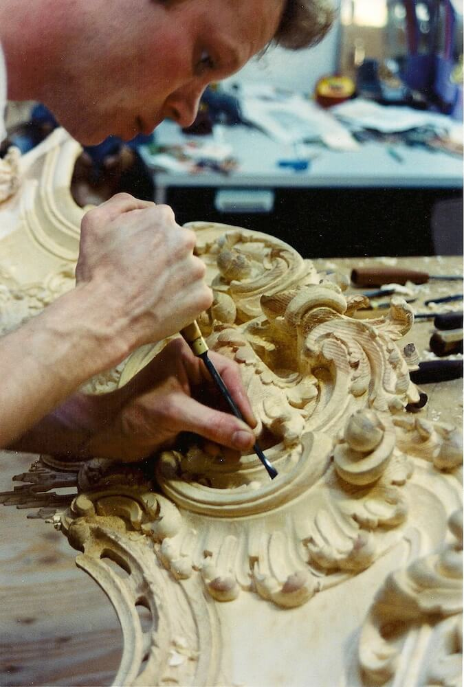 Applying the details to a Rococo fire surround