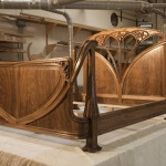 Art Nouveau bed based on a Louis Majorelle design, built and hand-carved in walnut by Agrell Architectural Carving.
