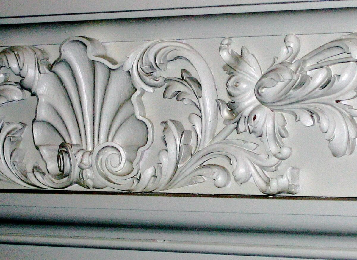 Detail of fireplace frieze at Fulham Palace