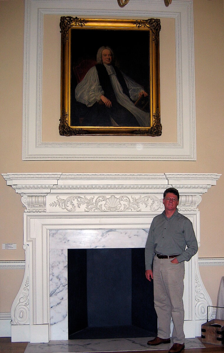 Ian Agrell with Bishop Sherlock's fireplace
