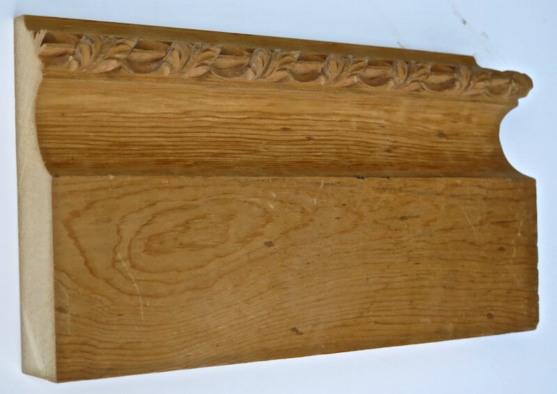 Wood-carved acanthus and pin moulding on an 18th century-style baseboard by Agrell Architectural Carving.