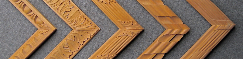 Agrell Architectural Carving carves motifs on miters to avoid an awkward of shapes. This is not possible with machine-carved or cast mouldings.