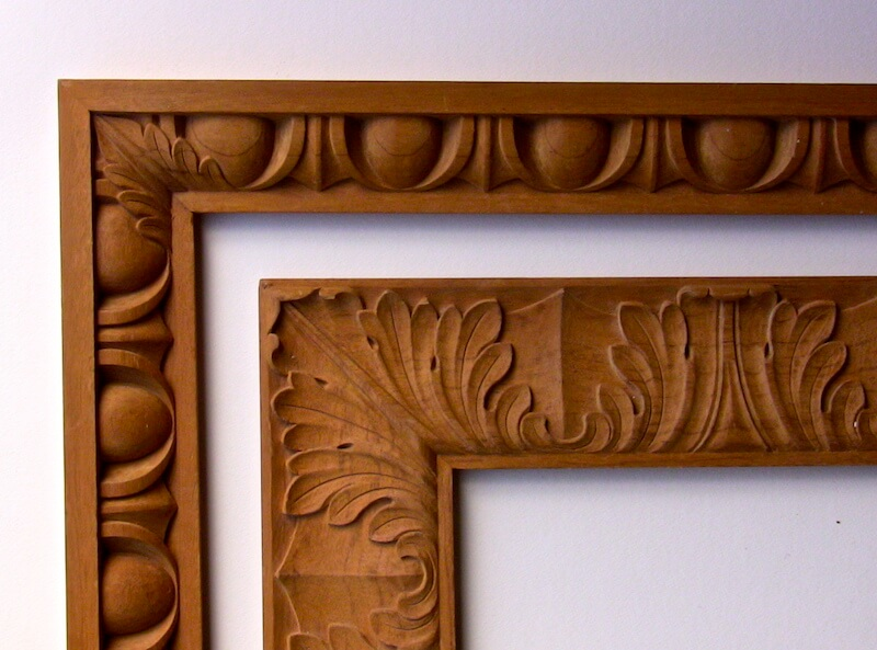 Agrell Architectural Carving carves acanthus leaf motifs on miters to avoid an awkward of shapes.