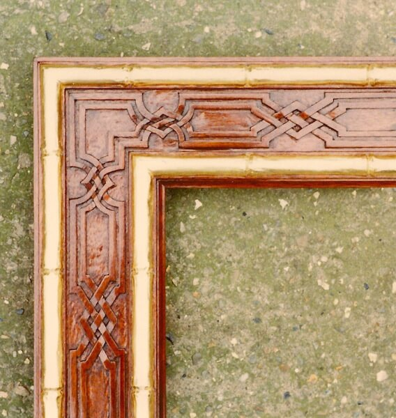 Wood-carved and gilded Chinoiserie frame by Agrell Architectural Carving.