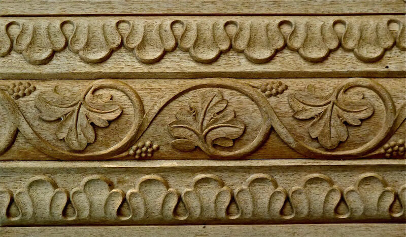 Wood-carved Gothic grapevine moulding by Agrell Architectural Carving.