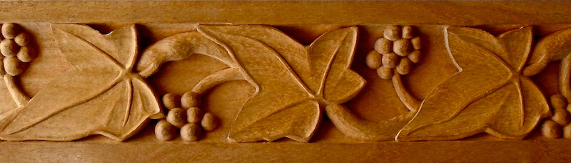 Gothic-style grapevine moulding based on a motif found at Notre Dame in Paris. By Agrell Architectural Carving.