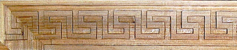Wood-carved Greek key panel moulding by Agrell Architectural Carving.