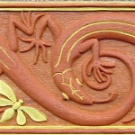 Lizard design by M.P. Verneuil. Hand-carved and painted by Agrell Architectural Carving.