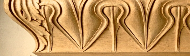 Wood-carved Greek-style lamb's tongue moulding based on a motif found at the Acropolis. By Agrell Architectural Carving.