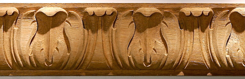 Wood-carved acanthus leaf moulding by Agrell Architectural Carving.