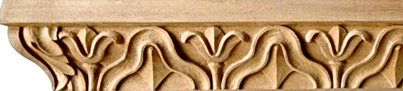Wood-carved neoclassical moulding with bellflowers by Agrell Architectural Carving.