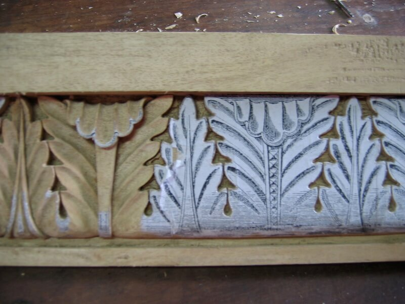 Wood-carved German Romanesque-style moulding based on a motif found on a frieze at the Citadel of Münzenberg. By Agrell Architectural Carving.