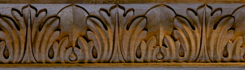 Wood-carved Baroque-style acanthus moulding by Agrell Architectural Carving.