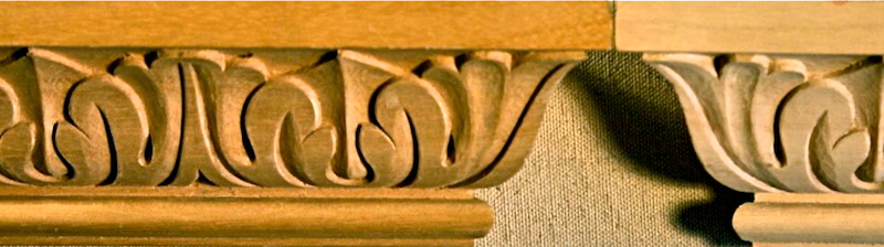 Wood-carved cyma recta acanthus moulding by Agrell Architectural Carving.