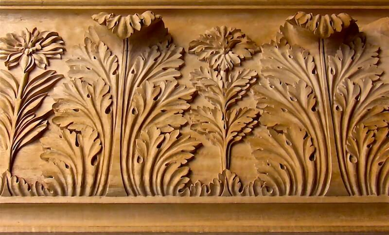 Wood-carved Italian-style acanthus moulding designed by Giacomo Albertolli for the Royal Palace in Milan. By Agrell Architectural Carving.