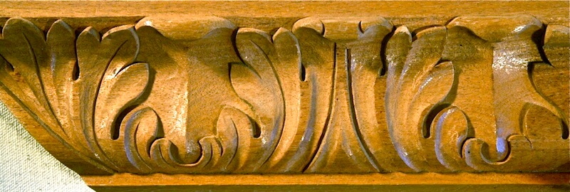 Wood-carved acanthus moulding by Agrell Architectural Carving.