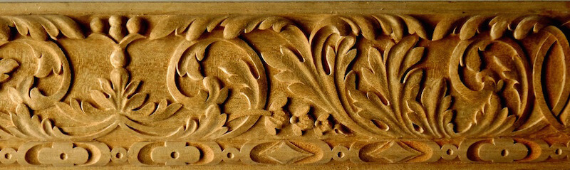 Acanthus and torus mouldings based on woodcarvings found at the Victoria and Albert museum in England.