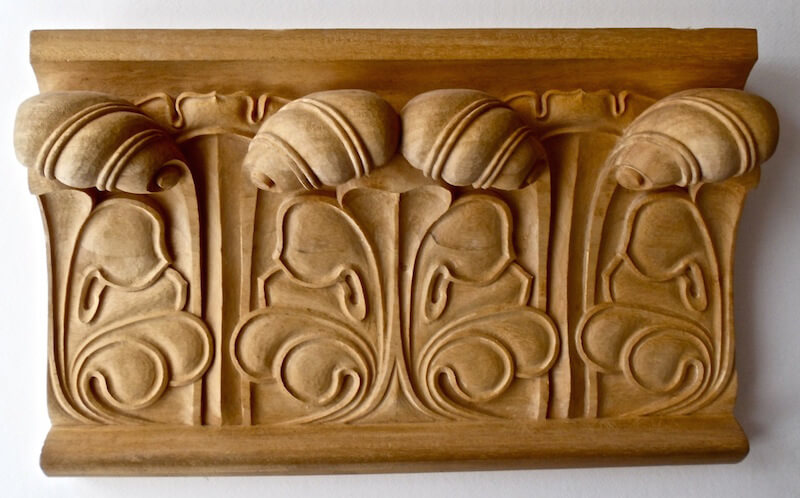 Wood-carved Gothic-style moulding by Agrell Architectural Carving.