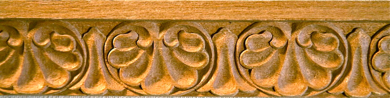 Wood-carved shell moulding by Agrell Architectural Carving.