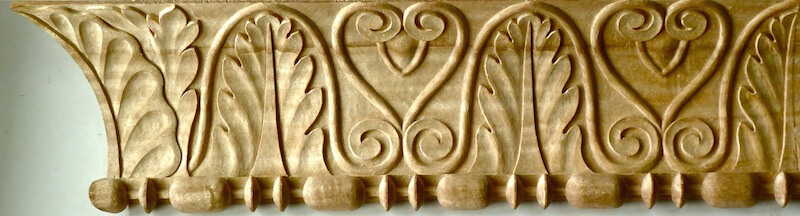 Wood-carved neoclassical cavetto moulding with sausage and reel. By Agrell Architectural Carving.