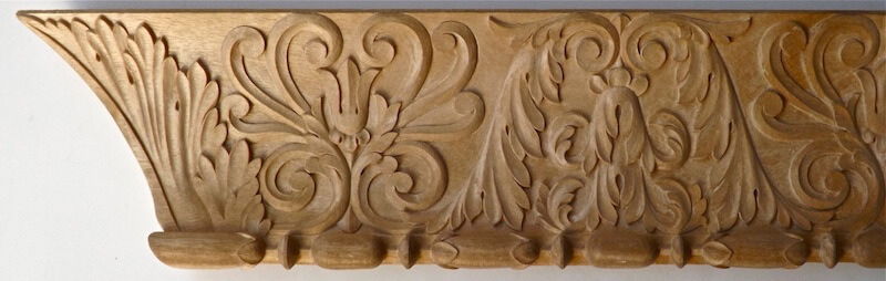 Wood-carved neoclassical cavetto moulding by Agrell Architectural Carving.