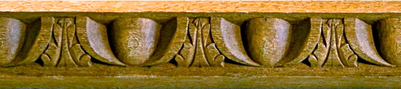 Wood-carved French-style egg and leaf moulding by Agrell Architectural Carving.